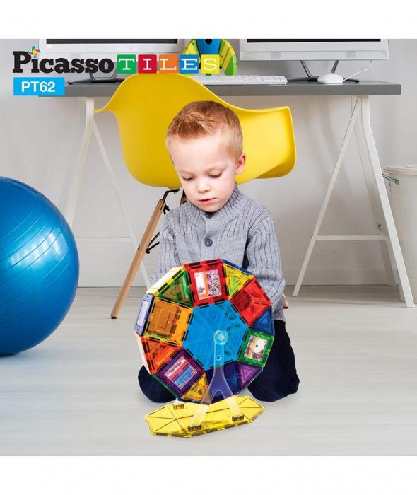Set PicassoTiles Roată De Parc De Distracții - 62 Piese Magnetice De Construcție Colorate 3