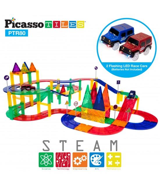 Set PicassoTiles Pistă De Curse - 80 Piese Magnetice De Construcție Colorate - 2 Mașini Cu LED-Uri 3