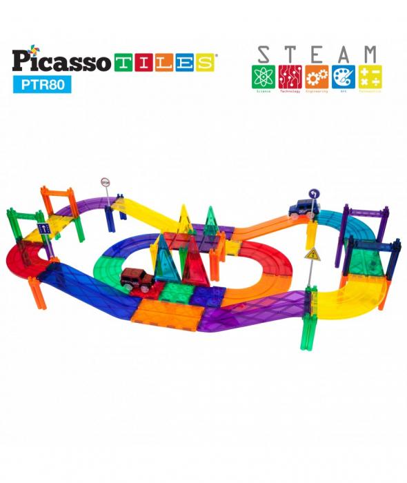 Set PicassoTiles Pistă De Curse - 80 Piese Magnetice De Construcție Colorate - 2 Mașini Cu LED-Uri 2
