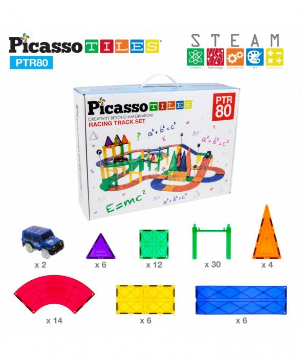 Set PicassoTiles Pistă De Curse - 80 Piese Magnetice De Construcție Colorate - 2 Mașini Cu LED-Uri 0