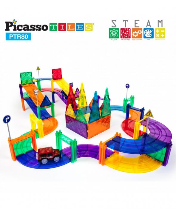 Set PicassoTiles Pistă De Curse - 80 Piese Magnetice De Construcție Colorate - 2 Mașini Cu LED-Uri 1
