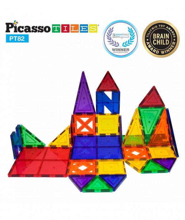 Set PicassoTiles Creativitate - 82 Piese Magnetice De Construcție Colorate - 10 Forme Diferite [2]