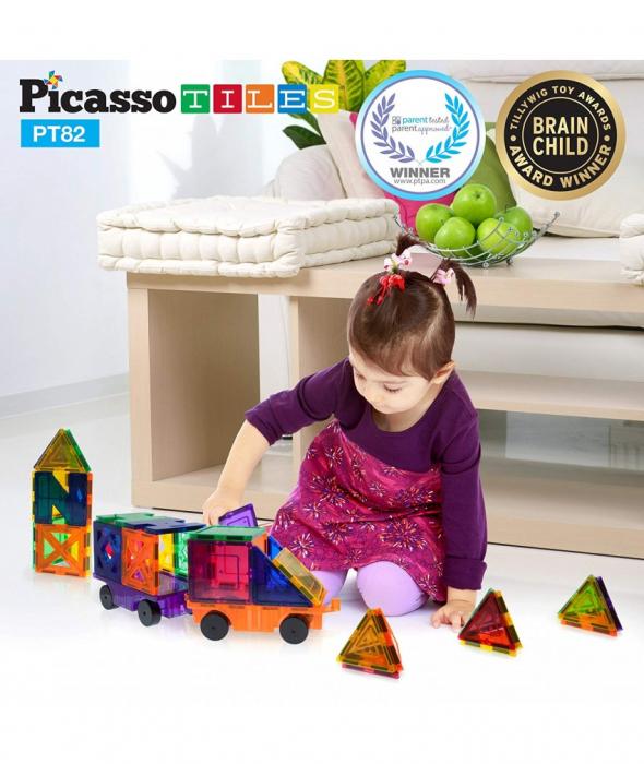 Set PicassoTiles Creativitate - 82 Piese Magnetice De Construcție Colorate - 10 Forme Diferite [3]