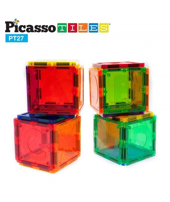 Set Magnetic Picasso Tiles Alfabet - 27 Piese Magnetice de Construcție Colorate 3