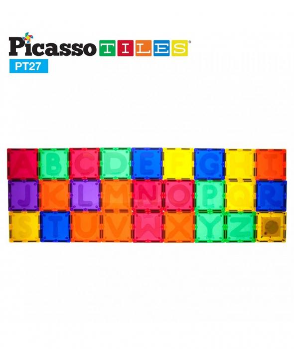 Set Magnetic Picasso Tiles Alfabet - 27 Piese Magnetice de Construcție Colorate 0