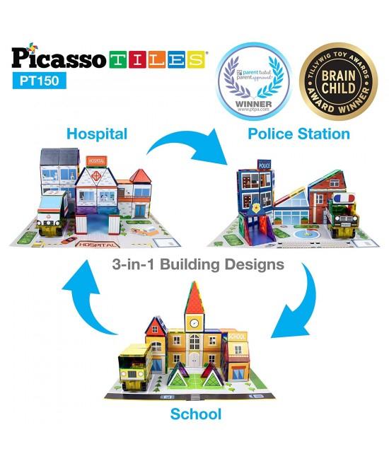 Set Magnetic Picasso Tiles 3 în 1 - 150 Piese - Școală/Spital/Stație de Poliție [0]