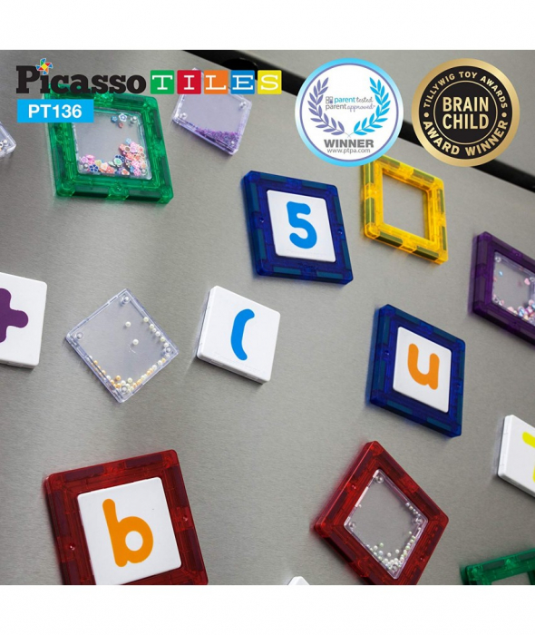 Set Magnetic Picasso Tiles Deluxe Combo Clip-In Extension - 136 Piese Magnetice de Construcție Colorate 3