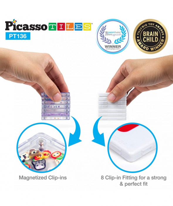 Set Magnetic Picasso Tiles Deluxe Combo Clip-In Extension - 136 Piese Magnetice de Construcție Colorate 2