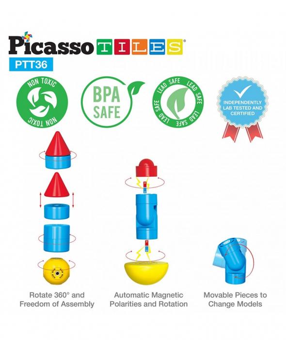 Set Magnetic Picasso Tiles Avion - 36 Blocuri Magnetice de Construcție Colorate 4