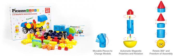 Set Magnetic Picasso Tiles Mașină - 42 Blocuri Magnetice de Construcție Colorate [1]