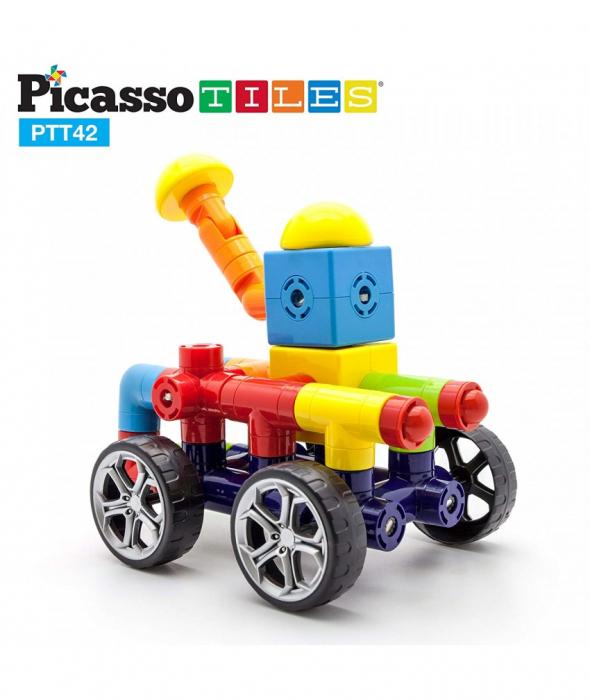 Set Magnetic Picasso Tiles Mașină - 42 Blocuri Magnetice de Construcție Colorate [3]