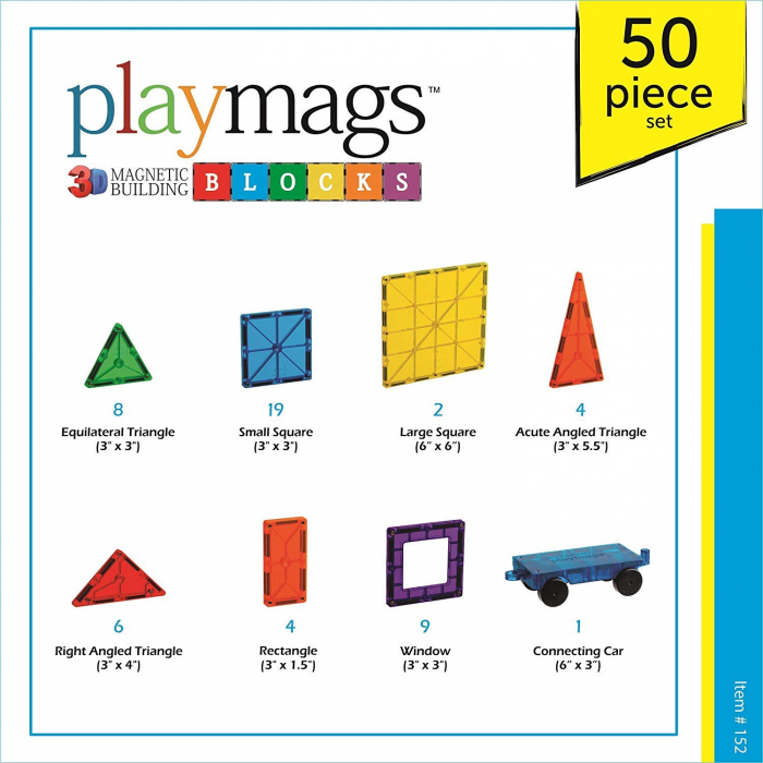 Set Playmags 50 piese magnetice de construcție 1