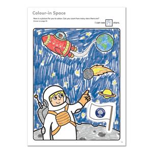 Carte de colorat cu activitati in limba engleza si abtibilduri In Spatiu OUTER SPACE1