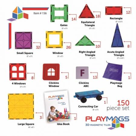 Joc magnetic Playmags - 150 de piese de construcție [1]