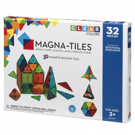 Magna-Tiles Clear Colors set magnetic (32 piese)0