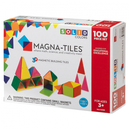 Magna-Tiles Solid Colors set magnetic (100 piese)0