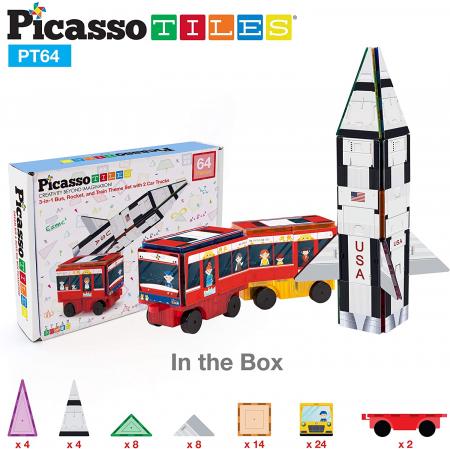 Set 3-În-1 Cu Piese De Construcție Și Autocolante Magnetice (64 Piese) - Rachetă, Tren Și Autobuz Școlar [2]