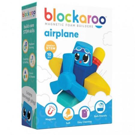 Set cuburi din spuma cu magnet Blockaroo - Avion 10 piese [0]