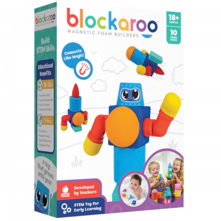 Set cuburi din spuma cu magnet Blockaroo - Robot 10 piese [0]