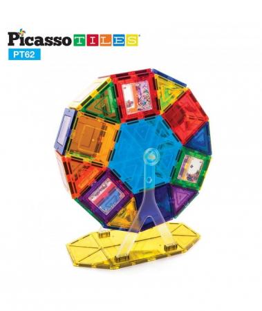 Set PicassoTiles Roată De Parc De Distracții - 62 Piese Magnetice De Construcție Colorate0