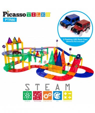 Set PicassoTiles Pistă De Curse - 80 Piese Magnetice De Construcție Colorate - 2 Mașini Cu LED-Uri3