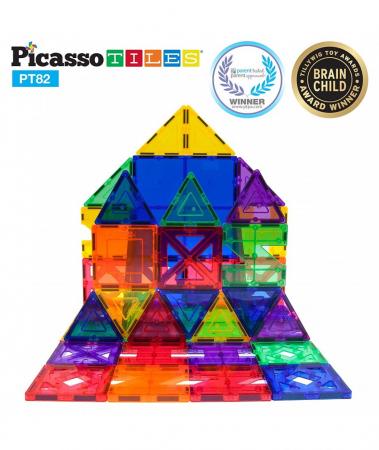Set PicassoTiles Creativitate - 82 Piese Magnetice De Construcție Colorate - 10 Forme Diferite [1]