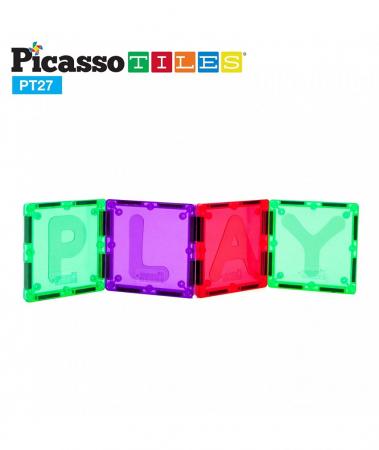 Set Magnetic Picasso Tiles Alfabet - 27 Piese Magnetice de Construcție Colorate1