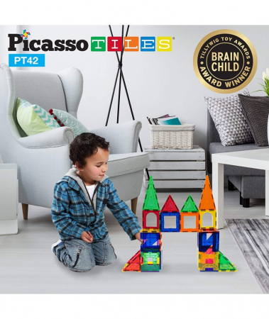 Set Magnetic Picasso Tiles - 42 Piese (6 Forme Diferite)0