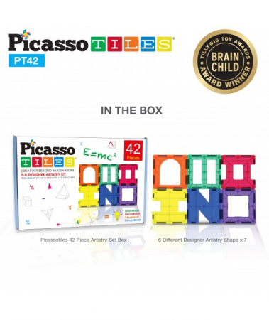 Set Magnetic Picasso Tiles - 42 Piese (6 Forme Diferite)1