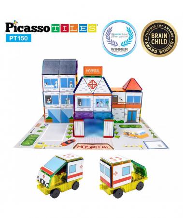 Set Magnetic Picasso Tiles 3 în 1 - 150 Piese - Școală/Spital/Stație de Poliție [2]