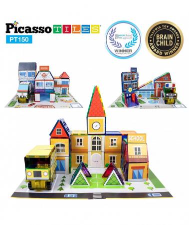 Set Magnetic Picasso Tiles 3 în 1 - 150 Piese - Școală/Spital/Stație de Poliție [3]