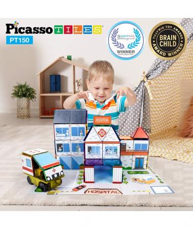 Set Magnetic Picasso Tiles 3 în 1 - 150 Piese - Școală/Spital/Stație de Poliție [1]