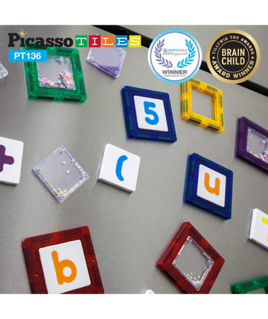 Set Magnetic Picasso Tiles Deluxe Combo Clip-In Extension - 136 Piese Magnetice de Construcție Colorate3