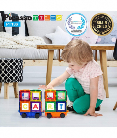 Set Magnetic Picasso Tiles Deluxe Combo Clip-In Extension - 136 Piese Magnetice de Construcție Colorate1