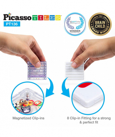 Set Magnetic Picasso Tiles Deluxe Combo Clip-In Extension - 136 Piese Magnetice de Construcție Colorate2