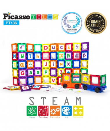 Set Magnetic Picasso Tiles Deluxe Combo Clip-In Extension - 136 Piese Magnetice de Construcție Colorate0