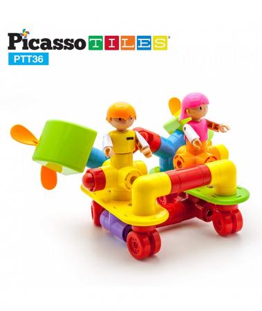 Set Magnetic Picasso Tiles Avion - 36 Blocuri Magnetice de Construcție Colorate0