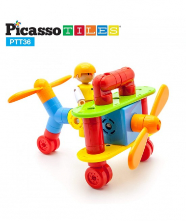 Set Magnetic Picasso Tiles Avion - 36 Blocuri Magnetice de Construcție Colorate [1]