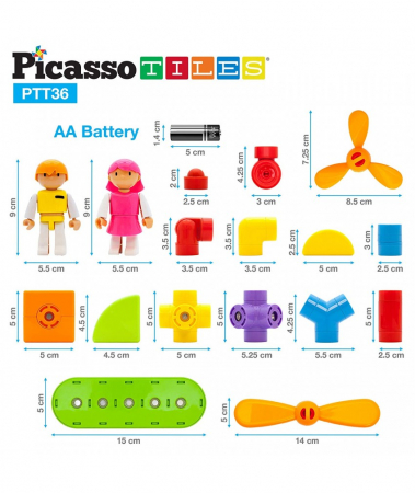 Set Magnetic Picasso Tiles Avion - 36 Blocuri Magnetice de Construcție Colorate [2]