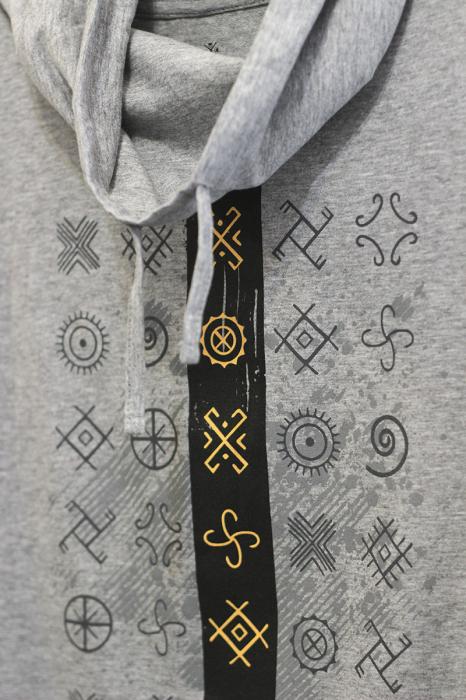 Tricou Cultul Soarelui, guler înalt, unisex, culoare gri 2