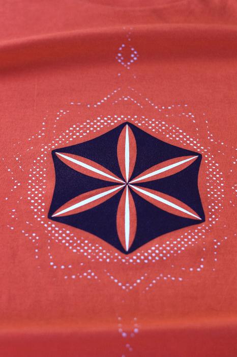 Tricou Floarea Vieții, damă, culoare corai 1