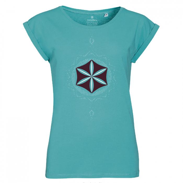 Tricou Floarea Vieții, damă, culoare turcoaz 0