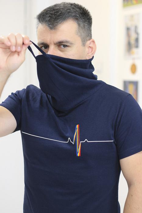 Tricou Puls Românesc, guler înalt, unisex, culoare bleumarin 1