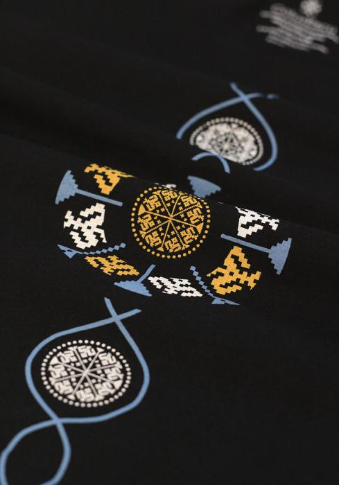 Tricou Coloană Tradițională, bărbat, culoare neagră 2