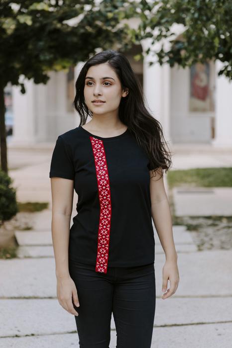 Tricou Motive Țesute, CIR54, damă ,culoare neagră 2