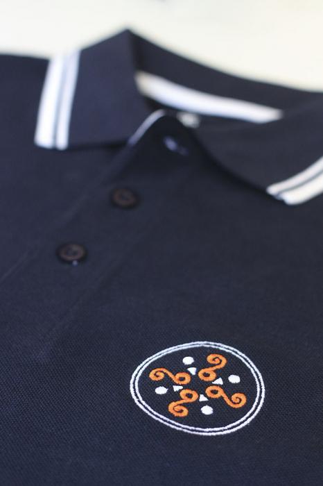 Tricou Simbol Cucuteni, broderie, culoare bleumarin 1