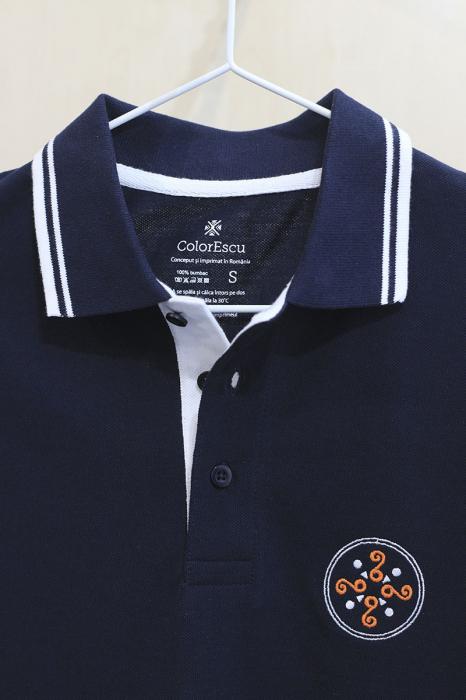 Tricou Simbol Cucuteni, broderie, culoare bleumarin 3