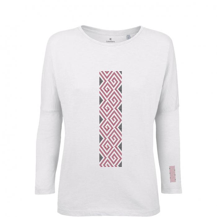 Bluză Mândră, mânecă 3/4, culoare albă 0