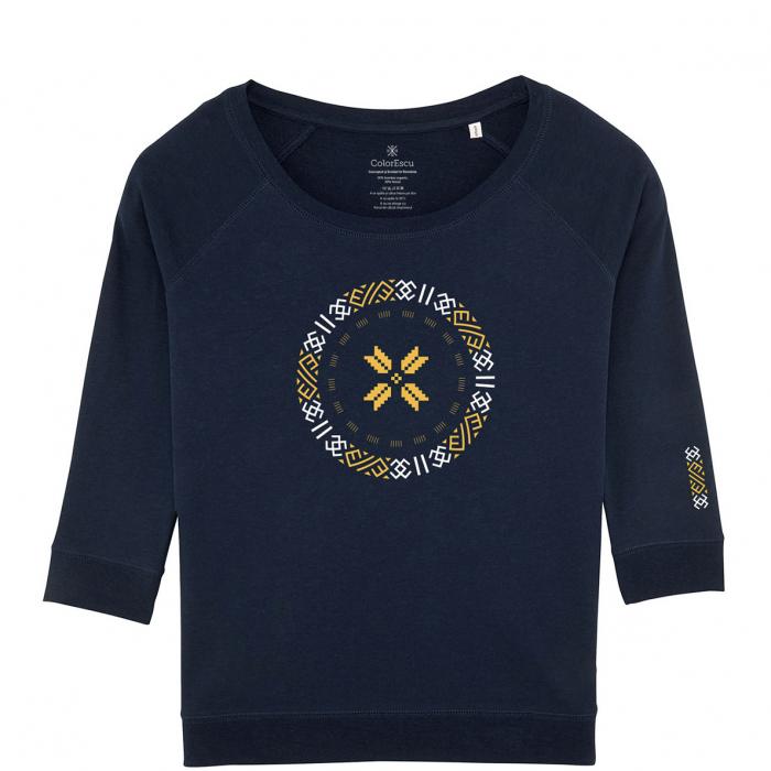 Bluză Semne Bune, mânecă 3/4, culoare bleumarin 0