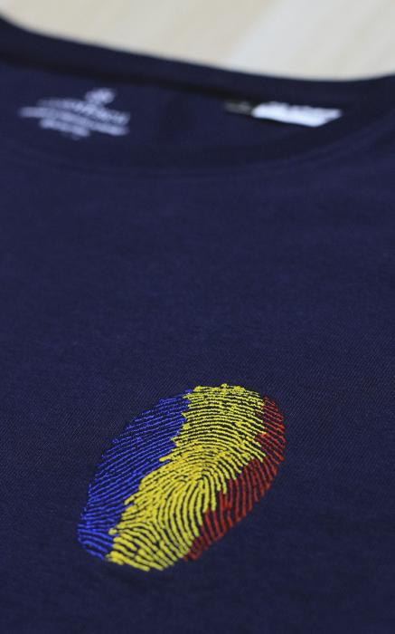 Bluză Amprentă România, broderie, culoare bleumarin 1